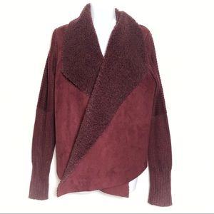 Grace Elements Suede Faux Sherpa sweater cardigan